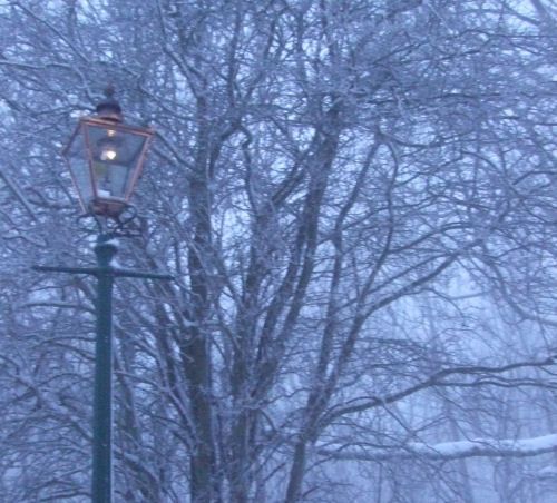 Malvern gas lamp in the snow